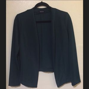 Emerald Green Tailored Collarless Jacket